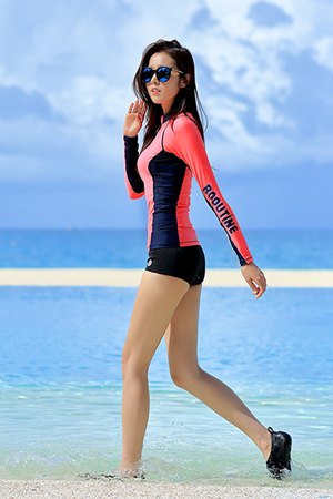 DIVE ORANGE ZIP-UP WOMAN RASHGUARD (RT0041-1)