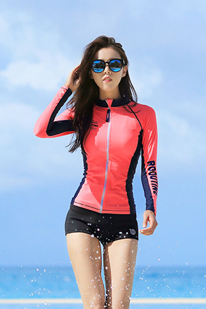 DIVE ORANGE ZIP-UP WOMAN RASHGUARD (RT0041-1) [XL(77)]