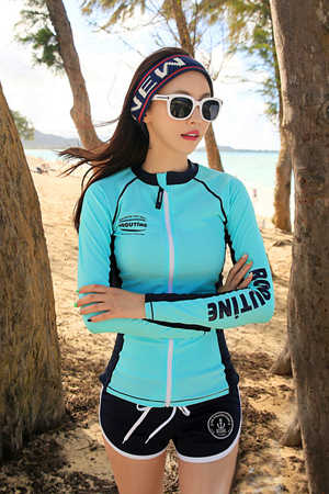 DIVE MINT ZIP-UP WOMAN RASHGUARD (RT0041)
